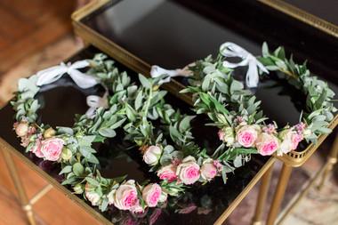 Couronne de fleurs rose eucalyptus Ateli