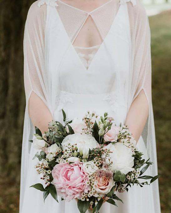 Bouquet de mariée pivoine rose et blanc