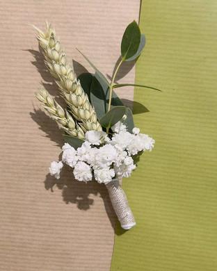 Boutonnière blé gypso euclayptus Atelier Lavarenne