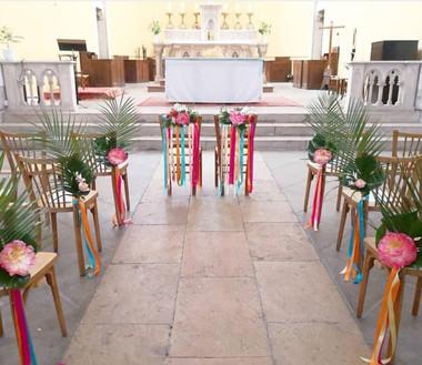 Bout de banc d'église chaise des mariés