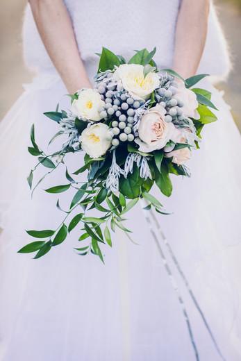 Bouquet de mariée traine ivoire rose Ate
