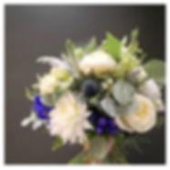 Bouquet de mariée blanc bleu pivoine cha