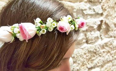Couronne de fleurs rose Lyon