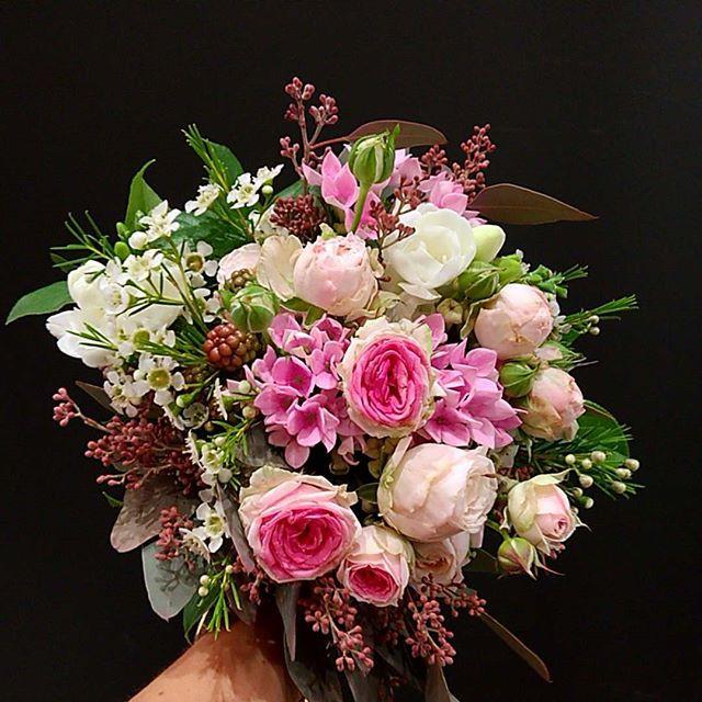 Bouquet de mariée rose bordeaux Atelier