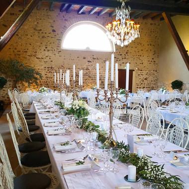 Chemin de table mariées eucalyptus gypso