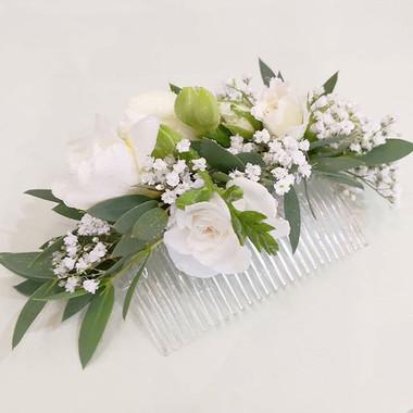 Peigne fleuri rose blanche gypsophile At