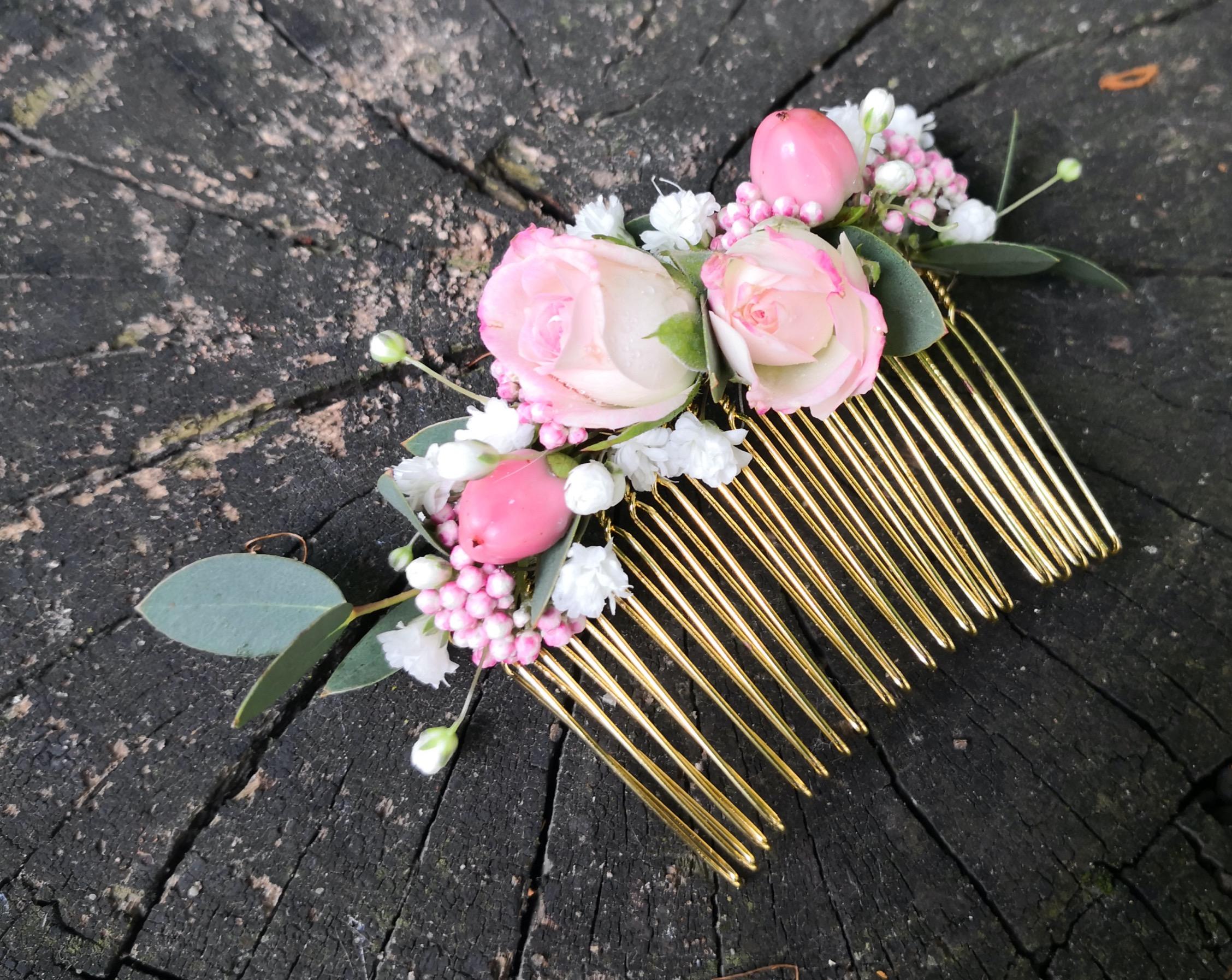 Peigne fleuri rose Atelier Lavarenne
