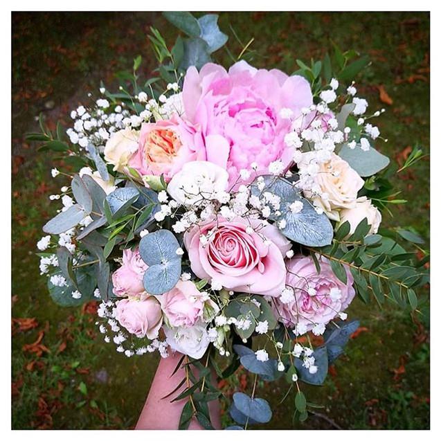 Bouquet de mariée pastel rose pêche Atel