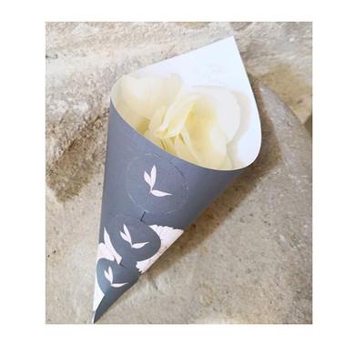 Cornet pétales de roses blanches