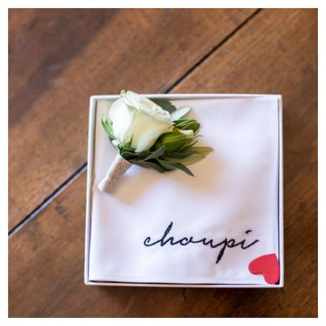 Boutonnière rose blanche Atelier Lavarenne