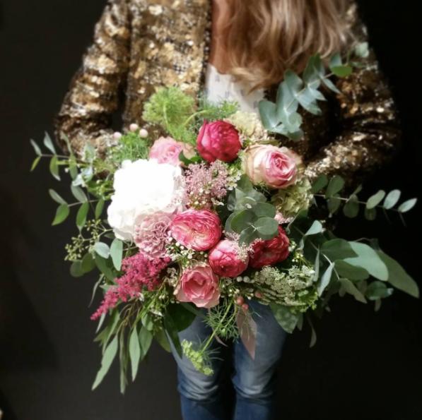 Bouquet de mariée bohème rose blanc Atel