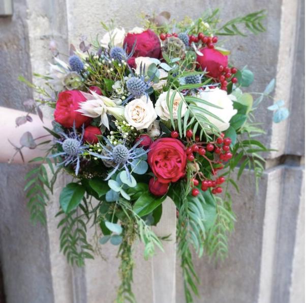 Bouquet de mariée bleu blanc rouge Ate l