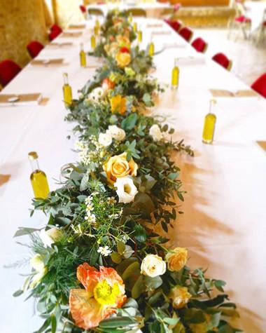 Chemin de table des mariés guirlande de