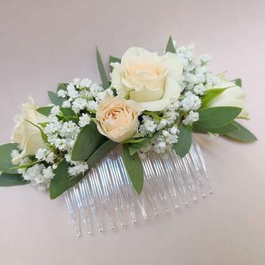 Peigne fleuri pêche blanc Atelier Lavare