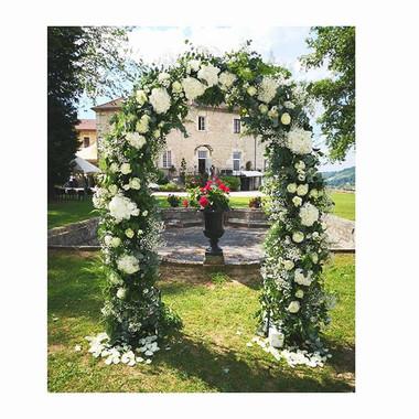Arche florale fer forgé Château Chapeau Cornu Atlier Lavarenne