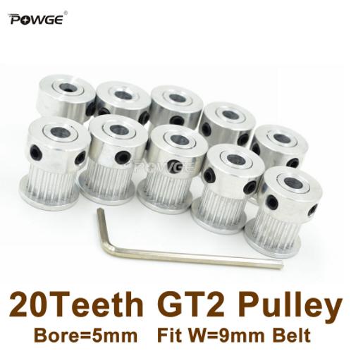 Powge 20 зубчатый шкив с Ø=5 мм,  для ГРМ 2GT 9 мм ремня