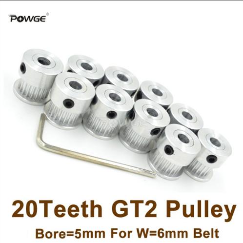 Powge 20 зубчатый шкив с Ø=5 мм,  для ГРМ 2GT 6 мм ремня