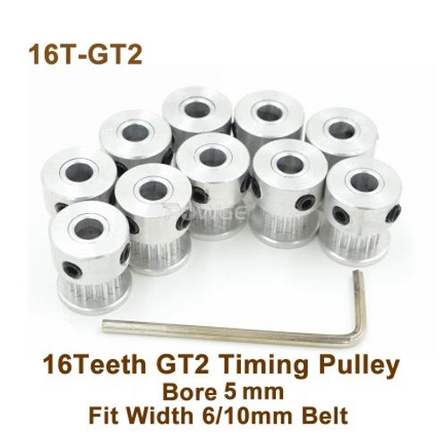 Powge 16 зубчатый шкив с Ø=5 мм,  для ГРМ 2GT 6/10 мм ремня
