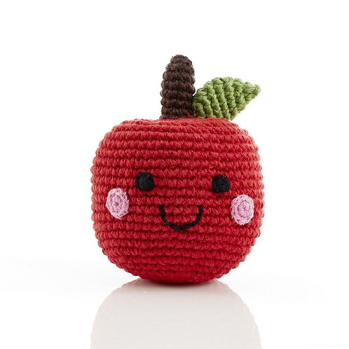 Friendly Fruit Red Apple - Crochet Cotton Baby Rattle - Pebble Toys