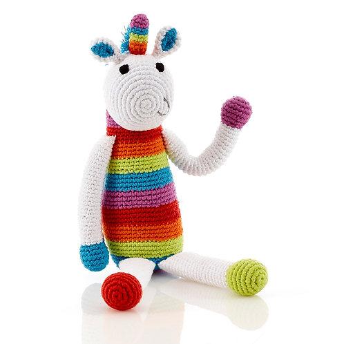 Rainbow Unicorn - Large Crochet Cotton Toy - Pebble Toy