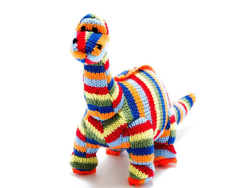 Small Stripe Diplodocus Knitted Dinosaur Rattle - Pebble Toys