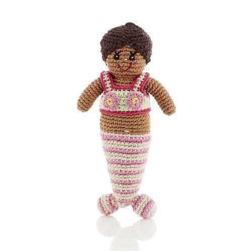 Mermaid (Pink) - Crochet Cotton Baby Rattle - Pebble Toy