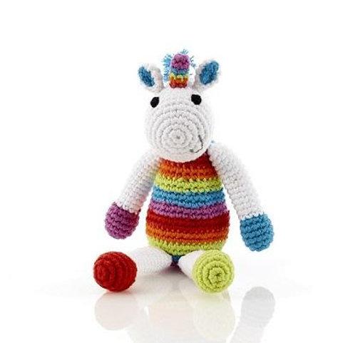 Rainbow Unicorn - Crochet Cotton Baby Rattle - Pebble Toy