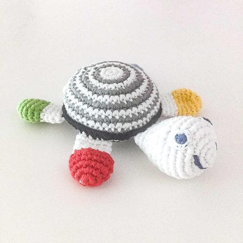 Black & White Turtle - Crochet Cotton Baby Rattle - Pebble Toys