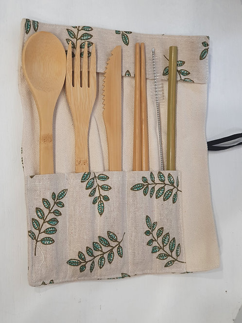 Bamboo Cutlery Set 7 piece - Olive Branch