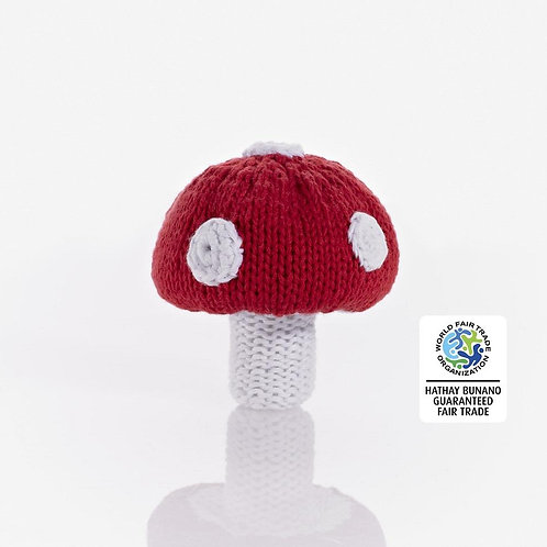 Toadstool Red - Crochet Cotton Baby Rattle - Pebble Toys