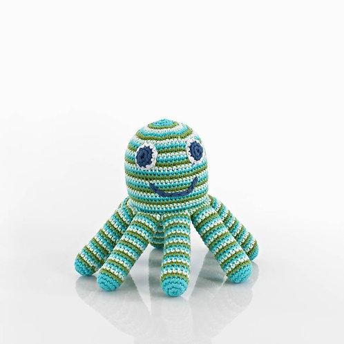Octopus Blue - Crochet Cotton Baby Rattle - Pebble Toy