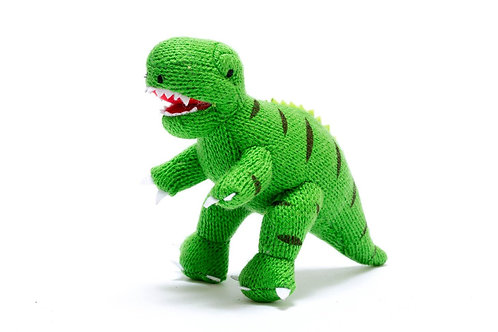 Knitted Mini T Rex Rattle Green - Pebble Toys