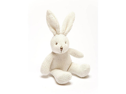 White Bunny - Knitted Organic Cotton Baby Rattle - Pebble Toys