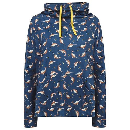Women's Funnel Neck Sweatshirt - NARWHALS - Piccalilly