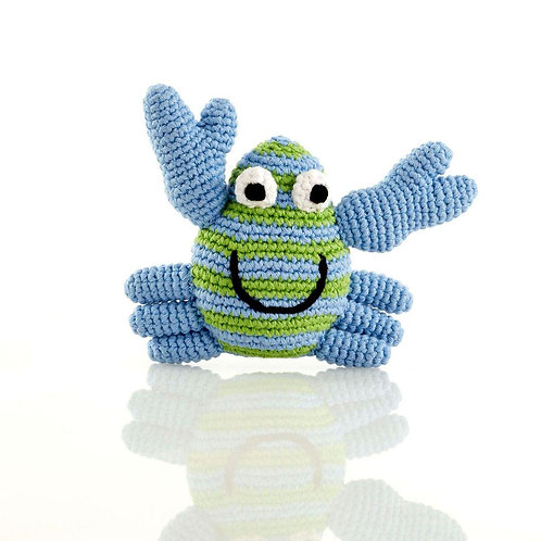 Blue Crab - Crochet Cotton Baby Rattle - Pebble Toys