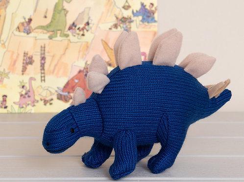 Knitted Mini Stegosaurus Rattle Blue - Pebble Toys