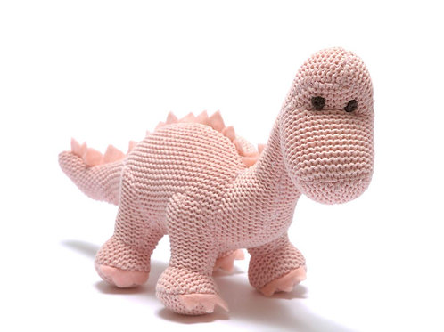 Knitted Mini Diplodocus Rattle Pink - Pebble Toys