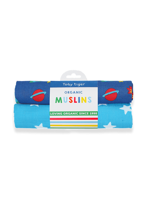 Organic Space Print 2-Pack Muslins - Toby Tiger