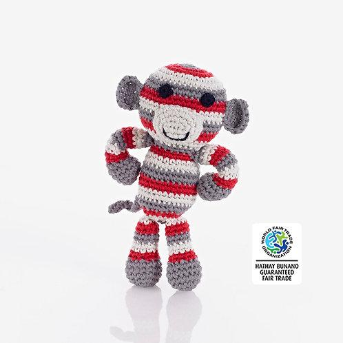 Monkey - Crochet Cotton Baby Rattle - Pebble Toy
