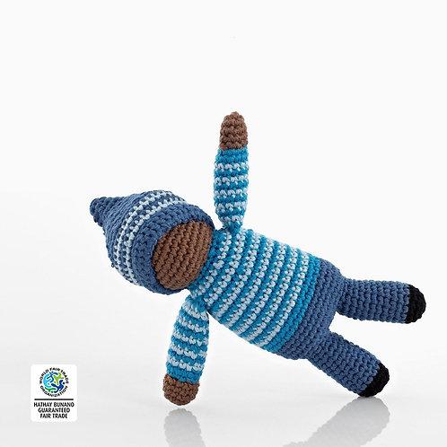 Pixie Birch (Blue) Rattle - Crochet Cotton Baby Rattle - Pebble Toys