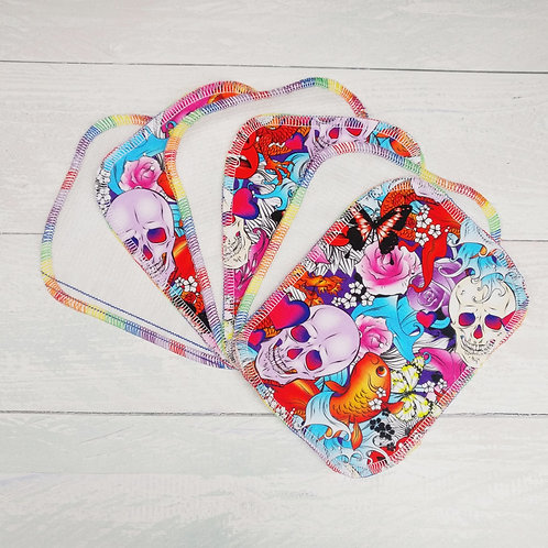 Reusable Baby Wipes - TATTOO SKULLS - Sparkly & Co