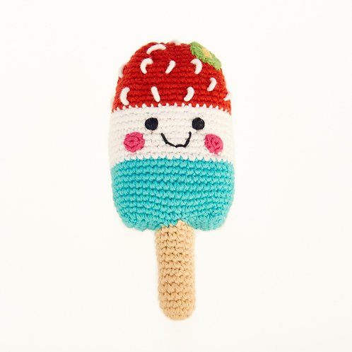 Friendly Ice Lolly Red - Crochet Cotton Baby Rattle - Pebble Toys