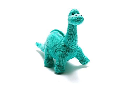 Knitted Mini Diplodocus Rattle Ice Blue - Pebble Toys