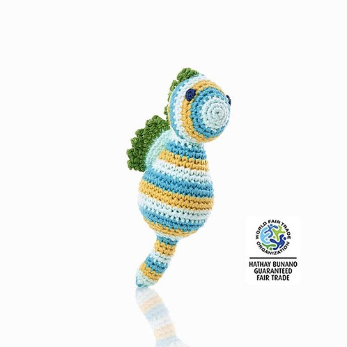 Seahorse Blue - Crochet Cotton Baby Rattle - Pebble Toy