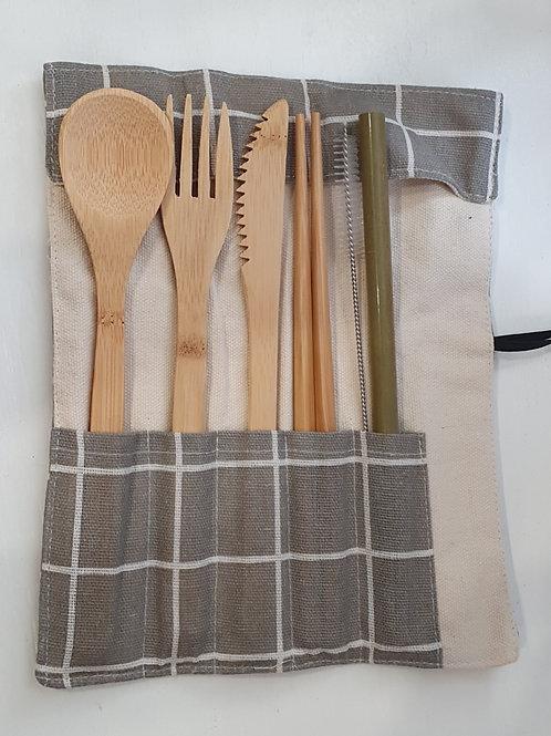 Bamboo Cutlery Set 7 piece - Check Please