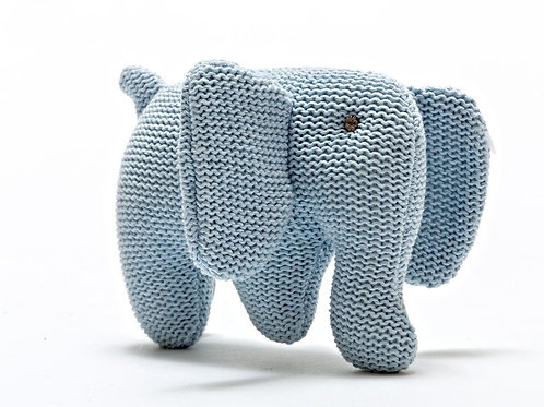 Blue Elephant - Knitted Organic Cotton Baby Rattle - Pebble Toys
