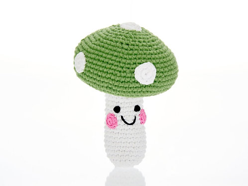Friendly Toadstool Green - Crochet Cotton Baby Rattle - Pebble Toys