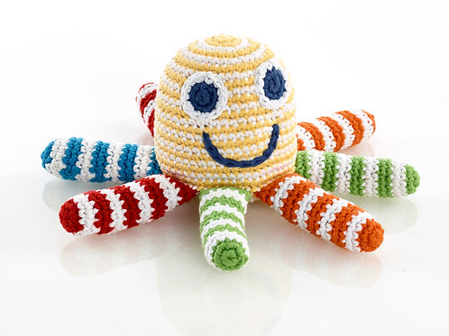 Octopus Yellow - Crochet Cotton Baby Rattle - Pebble Toy