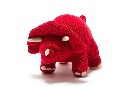 Knitted Medium Triceratops Toy Red - Pebble Toys
