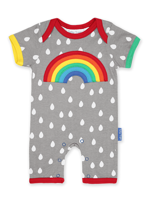 Raindrop with Rainbow Applique Romper - Toby Tiger